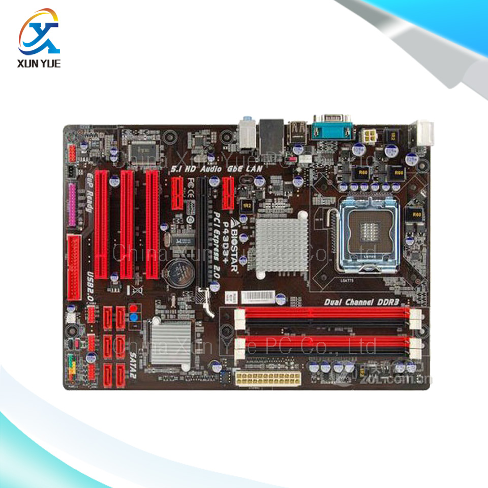 ФОТО For BIOSTAR P43D3+ 6.x Original Used Desktop Motherboard For Intel P43 For LGA 775 DDR3 SATA2 USB2.0 ATX