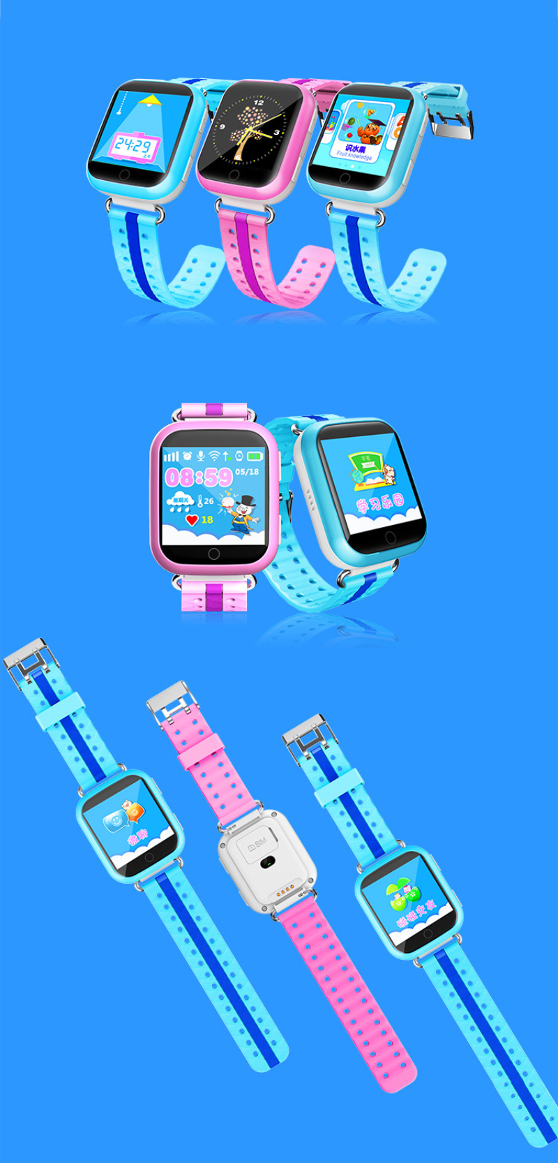 Smart Watch Phone for Children Electronic Toy Walkie Talkies Call GPS Wifi SOS iOS Touch Screen Russian Language Educational Boy (2)