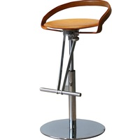 Modern Bar Stools with Low Back / Adjustable High of 55(21) 69cm(27)/ Faux Leather Upholstery / 18.5kg with Heavy Solid Base