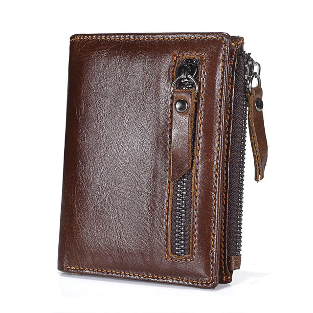 137bd8ab7385 US $11.02 44% OFF|Brand Genuine Leather Crazy Horse Cowhide Men Wallets  Double Zipper Retro Short Coin Purse Oil Wax Leather Money Pocket  Designer-in ...