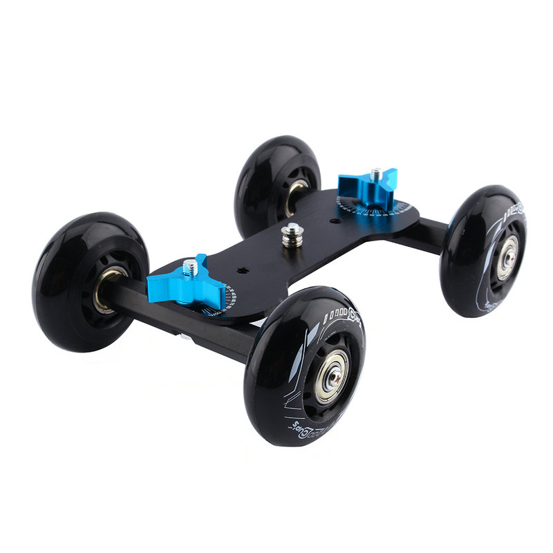 Black DSLR Truck Skater Wheel Table Top Compact Dolly Slider Kit Dslr Dolly Camera Car For