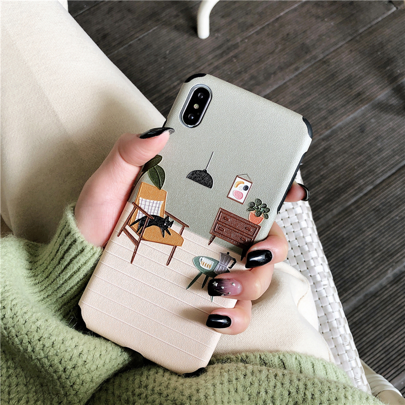 Vintage Cute Cartoon Phone Case for Iphone Xs Max Xr Matte Floral Tpu Case for Iphone 6s 7 8plus X Soft Back Cover in Fitted Cases from Cellphones Telecommunications