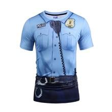 2017 summer fashion 3D print t shirt men police design slim short sleeve T-shirts cheap clothes o-neck