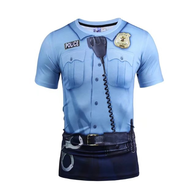 2017 Summer Fashion 3d Print T Shirt Men Police Design
