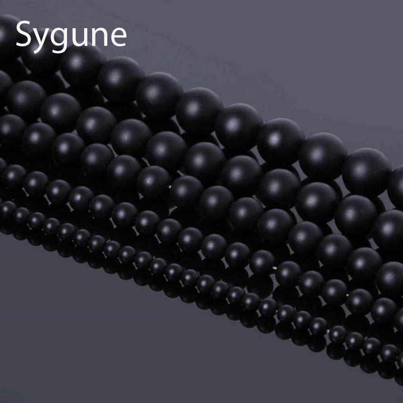 Natural Stone Beads 4-12mm Round Matte  Black Beads Dull Polish Onyx Carnelian Black Stone Beads for jewelry making Natural Ston