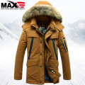 2016 Winter Men's down coat large fur collar medium-long detachable hood duck down coats men down jacket coats down parkas