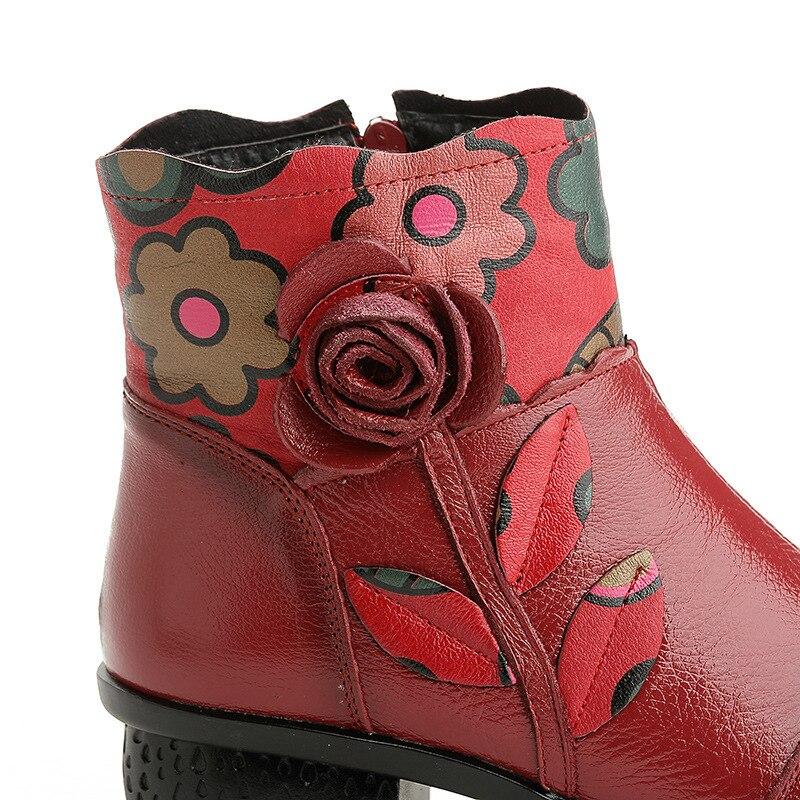 Caliente Flores Cuero Chaishou Tobillo Botas Las Moda Madre Feminina Para Mujeres Zapatos red Invierno Blace Nuevo Plataforma De qzqwEUt