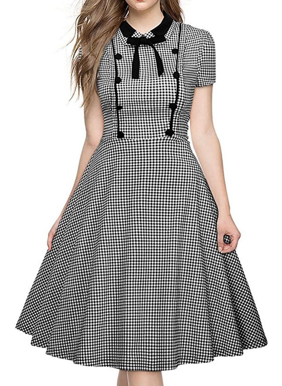 2bf1643310 Oxiuly Women Plaid Polka Dot Houndstooth Dresses Black Turn-down Collar  Vintage Short Sleeve Work Wear Female A-line Dress