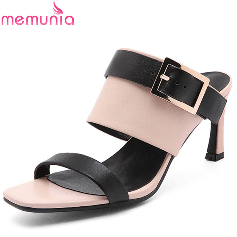 MEMUNIA 2019 new arrival summer women sandals genuine leather shoes buckle mixed colors thin high heels