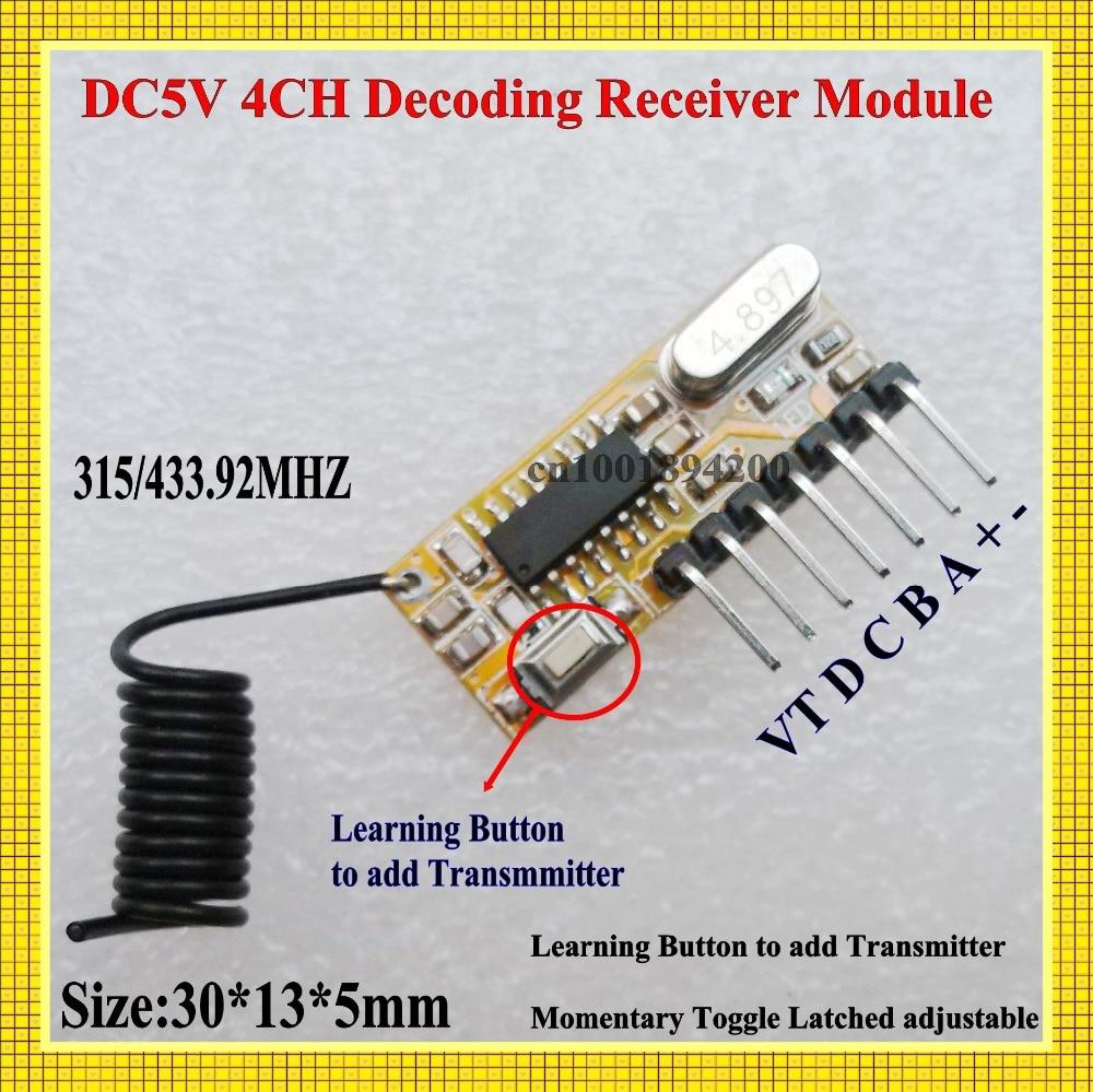 DC 5 V 4CH Learning Código M4 T4 ASK Módulo Receptor Decodificación L4 de trabaj