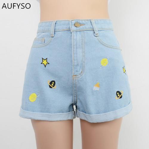 AUFYSO Blue Jeans Shorts Women 2017 Summer Korean Casual Galaxy Embroidery Cuff Slim High Waist  Denim Shorts feminino B130