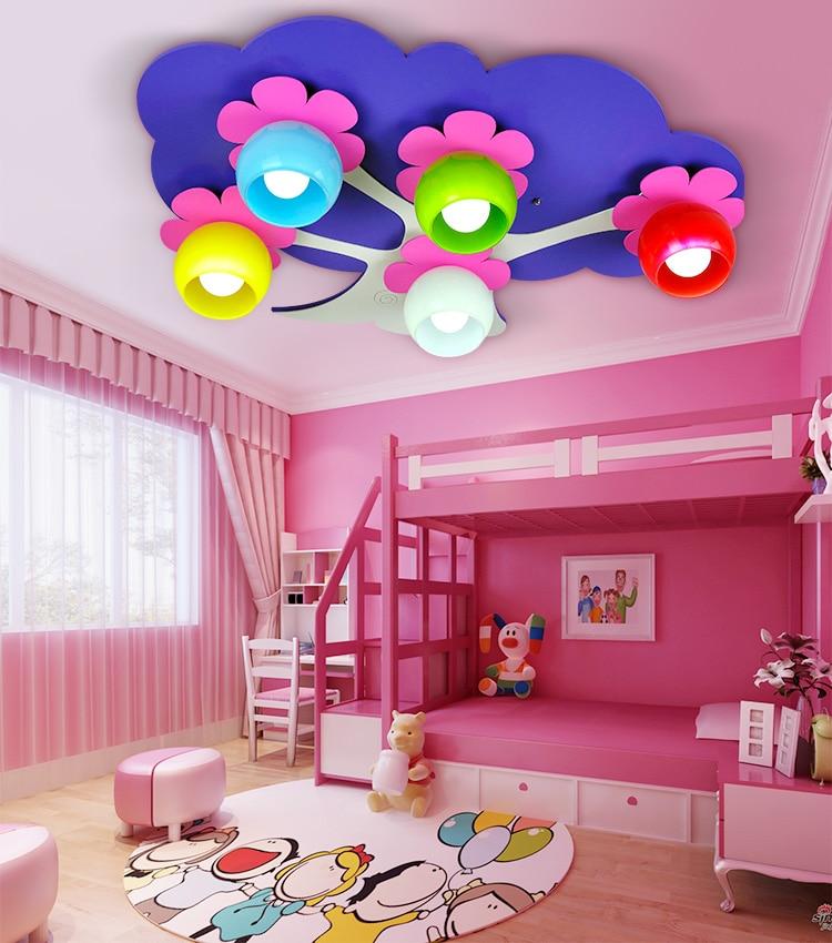 Ceiling light cute modeling lights creative children lights purple flowers flowers baby bedroom lights CL ET2