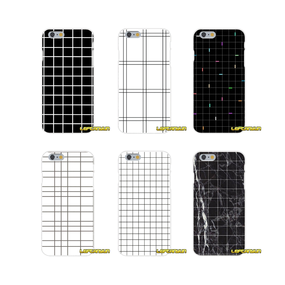 Retro style black and white grid Slim Silicone phone Case