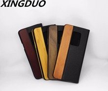 XINGDUO Solid Wood Phone Case For Samsung S7/S7 edge/S8/S8 plus/S9/S9 plus Luxury PU leather 2 in 1 case Kickstand shell