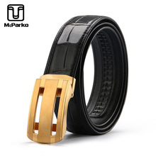McParko Belt Male Genuine Leather Men Automatic Buckle Luxury Mens Belts Crocodile With Stainless Steel Wide 34mm