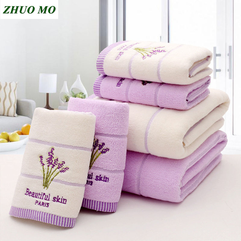 Lavender Embroidered Towels bathroom High Quality Cotton Large Bath Towel for Women travel Absorbent 2 colours Beach Face Towel
