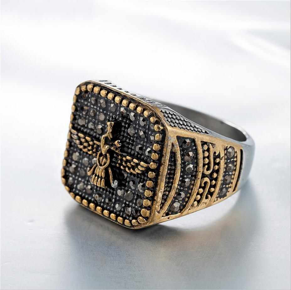 New Men 316L stainless steel vintage Iran Faravahar Ahura Mazda rings Gold Color Zoroastrian ring male Hip hop jewelry gifts