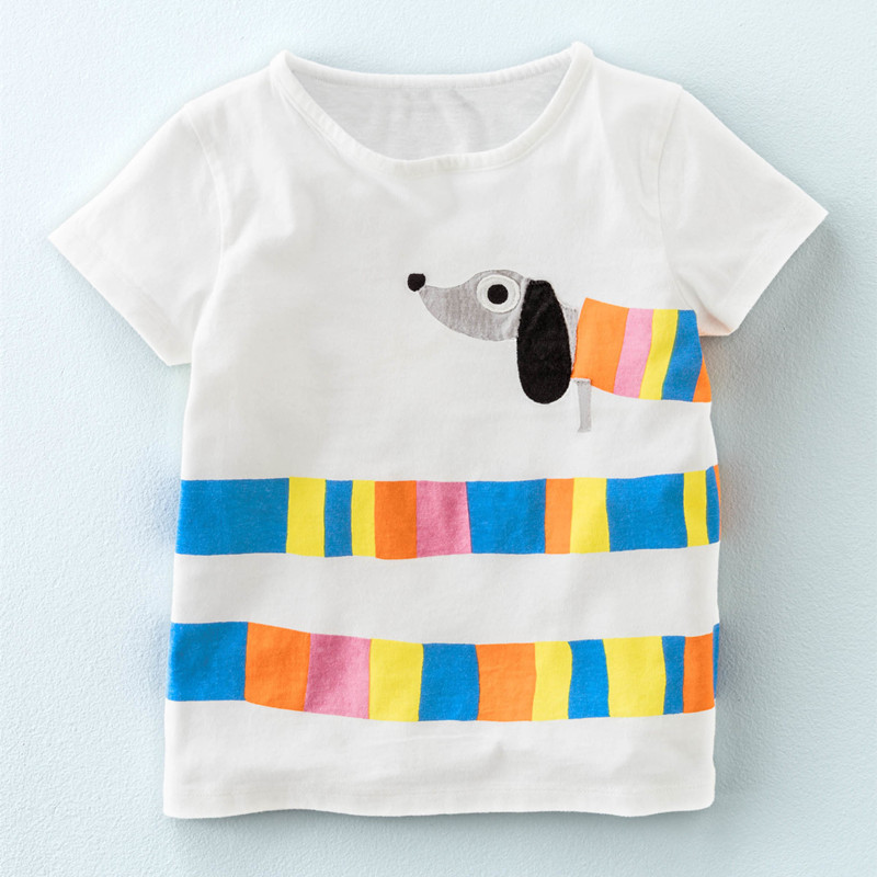 Little Maven New Girls Summer Fashion Colorful long Doggy Short O-neck Brand Cotton Quality Knitted Children Tshirt