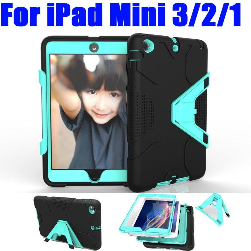 Case For iPad Mini 3 2 1 Silicone PC Hard Triangle Stand Armor Drop Shock Proof