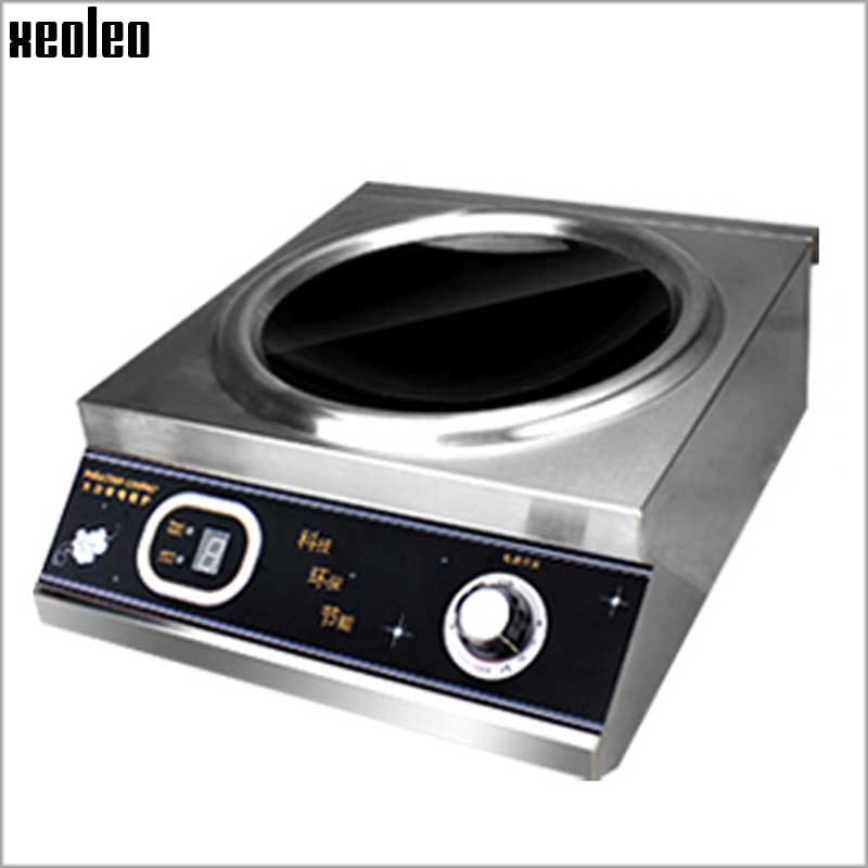 XEOLEO 5000W Commercial Concave Induction Cooker Stainless steel Electromagnetic Heating Cooker Electromagnetic Stove 220V 220v 50hz hrz288 home concave induction cooker 3000w high power blasted touch screen embedded battery stove 26 5cm concave