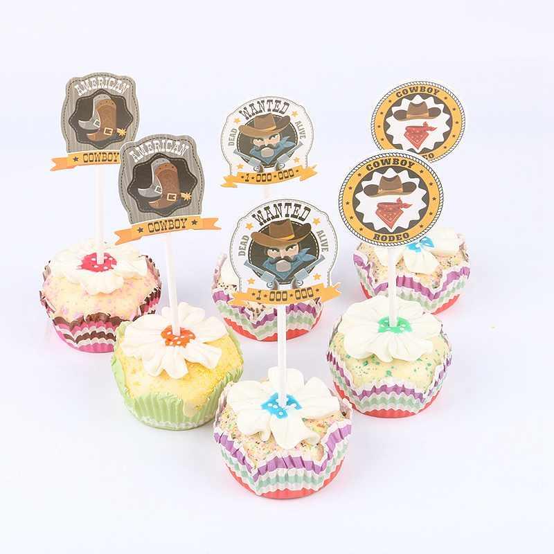 12 Unids Lote Vaquero Salvaje Cupcakes Toppers Selecciones De Decoración De Fiesta De Cumpleaños Niños Baby Shower Boy Favorece La Decoración De