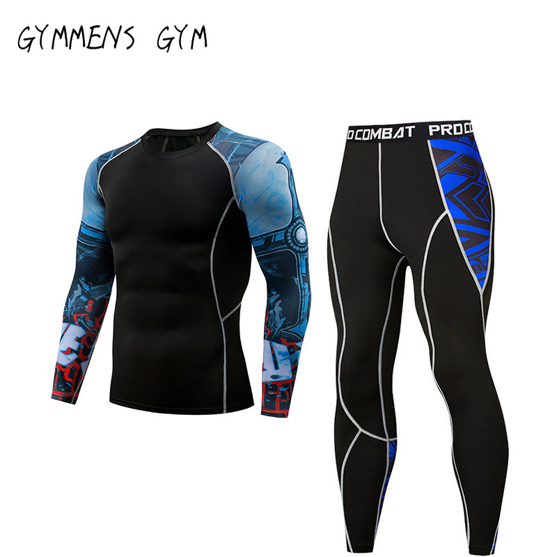 GYMMENS Gym Fitness Compression Tights For Men Sports Suit Shirt + Pants Jogging Fishing Activities Clothes