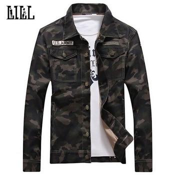 Bawełna kurtka do kamuflażu mężczyźni kobiety wiosna US Army Camo płaszcz mężczyzna wojskowy styl odzieży wierzchniej szczupła na co dzień Jean kurtki przycisk, UMA422