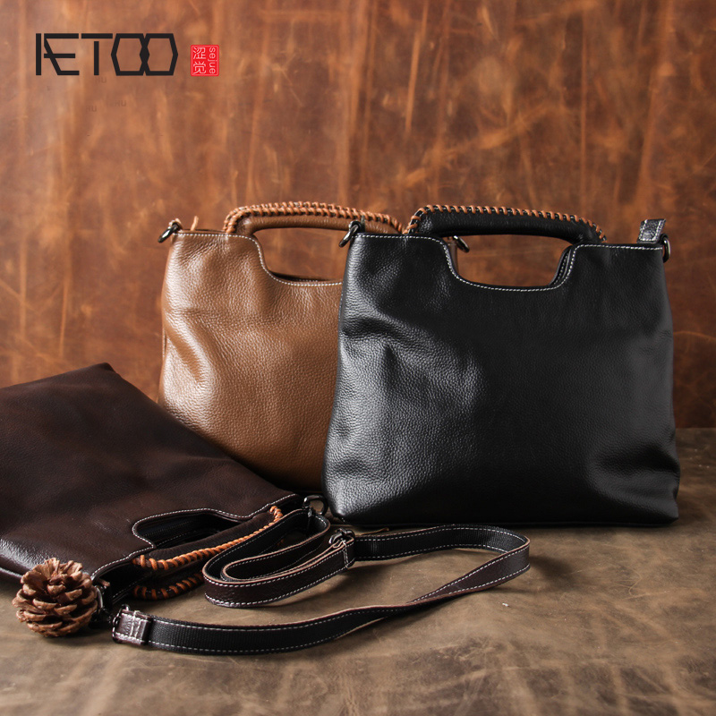 AETOO Original vintage 100% cow  leather handbags women first layer of leather handbag shoulder oblique cross bucket bag large high end of the first layer of litchi grain leather bucket bag basket classic bag handbag small women