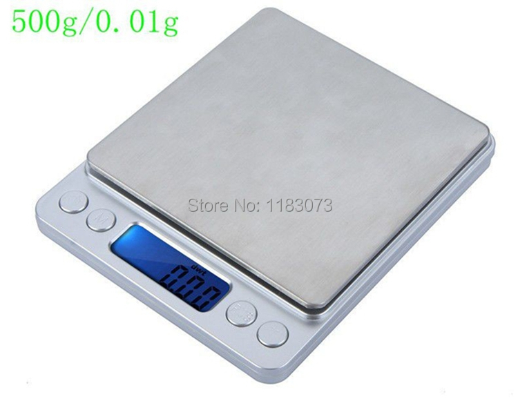 500g 0.01g Digital Pocket Jewelry Scale 500G 0.01 Food Kitchen Weighing Bench Scales LCD Cookie Gram Measure Tools Two Trays