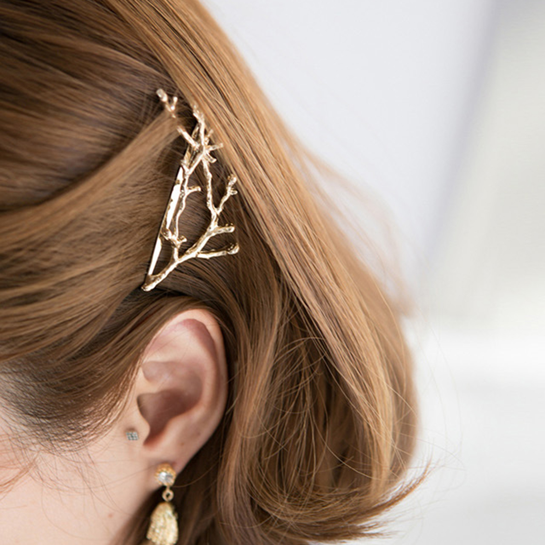 Hairpins Gold Silver Hair Clips For Women Bobby Pins 2PCS Metal Leaf Hairpins