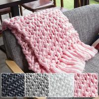 1pc Handmade Chunky Knitted Tassels Air conditioned Sofa Blanket Super Thick Line Woven Blanket Photography Props Blanket Decor