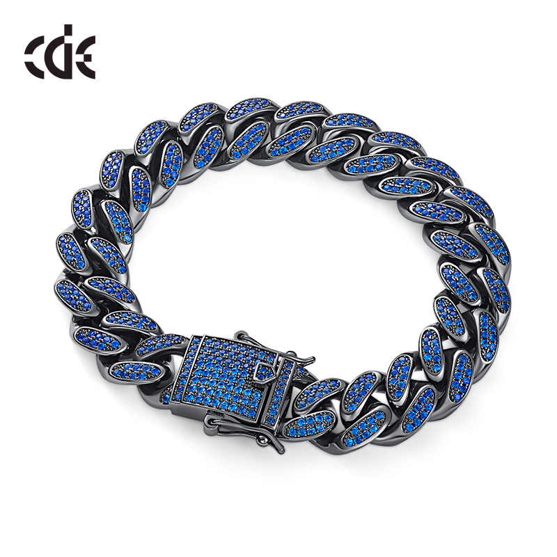 CDE Embellished with crystals from Swarovski Hip Hop Zircon Miami Cuban Link Bracelet Hip hop Jewelry chain Bracelet Jewelry