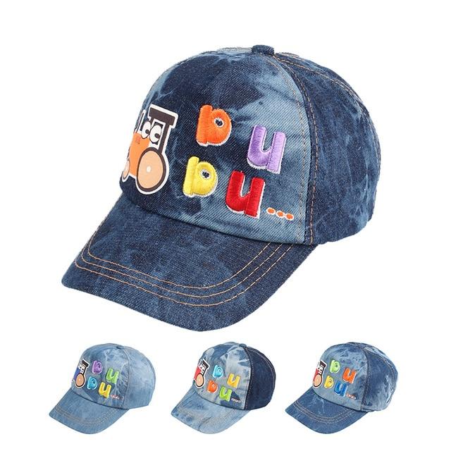 baa0e37eb Gorra de béisbol del vaquero moda Denim gorra de béisbol para niños algodón  carta sombrero del