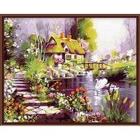 Homedecorationdada DIY расписанную Картина маслом мечта хижине цифровой живописи по номерам картины маслом прокрутки Картины Home Decor