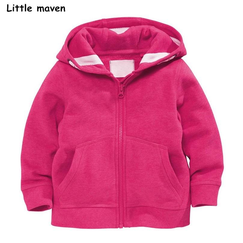 Little maven 2018 autumn winter girls brand clothes children Hoodies & Sweatshirts girls pink fleece V0108