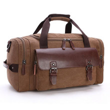 Brand Travel Bags 2016 Business Large capacity Canvas bag Student Shoulder luggage bag Leather Stitching Overnight bag Men/Women