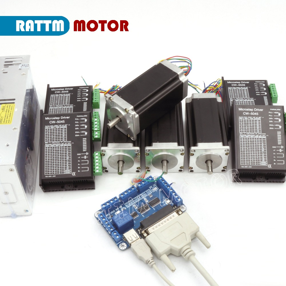 EU Delivery! 4 Axis CNC kit Nema23 CNC Stepper Motor(Dual Shaft)112mm  425oz-in 3A & CW5045 Driver 50V 4 5A 256 Microstep