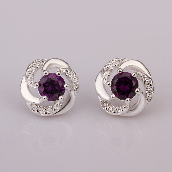 925 Sterling Silver Full Crystal Stone Spiral Round W Purple Earring Stud For Women Fine Fashion Trendy Jewerly In Earrings From