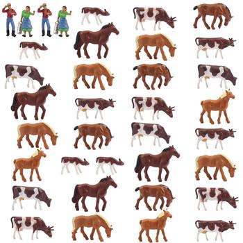 AN8706 36 sztuk 1 87 dobrze malowane zwierzęta gospodarskie krowy konie figurki HO skala nowy krajobraz krajobraz układ tanie i dobre opinie Modern 14 lat CN (pochodzenie) Model Figures Z tworzywa sztucznego HO Scale Inne Unisex Can not eat
