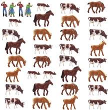 AN8706 36 sztuk 1: 87 dobrze malowane zwierzęta gospodarskie krowy konie figurki HO skala nowy krajobraz krajobraz układ