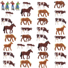 AN8706 36PCS 1:87 Well Painted Farm Animals Cows Horses Figures HO Scale NEW Scenery Landscape Layout
