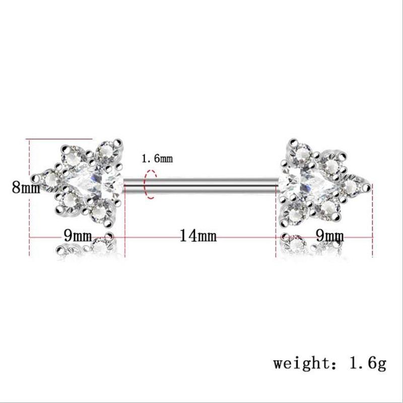 2PCS Stainless Steel Rose Gold Crystal Nipple Bar Barbell Piercing Shield Rings Women Nipple Summer Jewelry Body Piercing