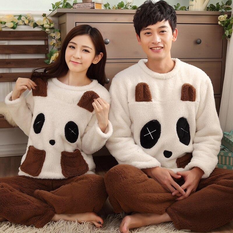 Autumn Winter Lovers Panda Sleepwear Male Women's Lamb Berber Fleece Thickening Long-sleeve Flannel Lounge Set Home Wear - Darewin's Fashion Store store
