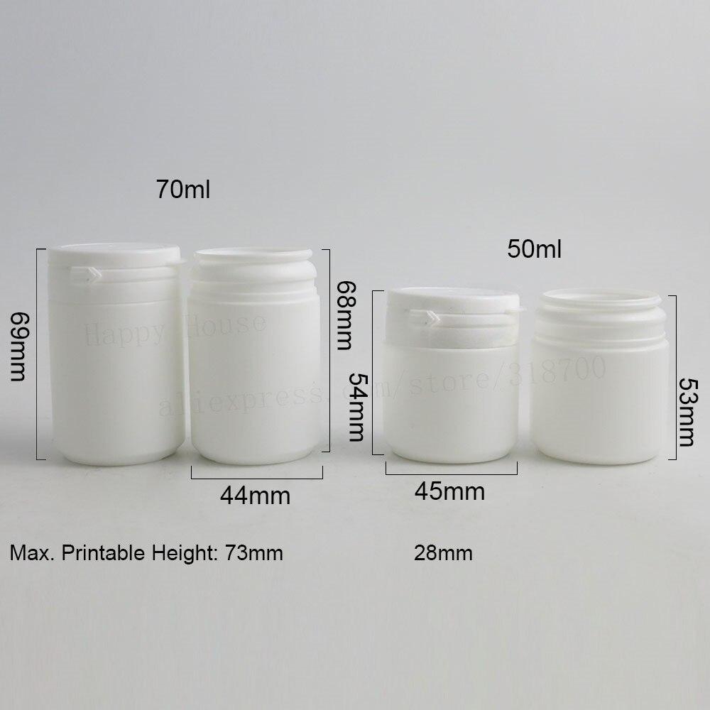 Top Quality 100/lot 50มิลลิลิตร70มิลลิลิตรHDPEของแข็งสีขาวขวดยาฮาร์ดw/ฉีกขาดหมวกพลาสติกเกรดทางการแพทย์บานพับด้านบนขวดทางการแพทย์-ใน ขวดรีฟิล จาก ความงามและสุขภาพ บน   3