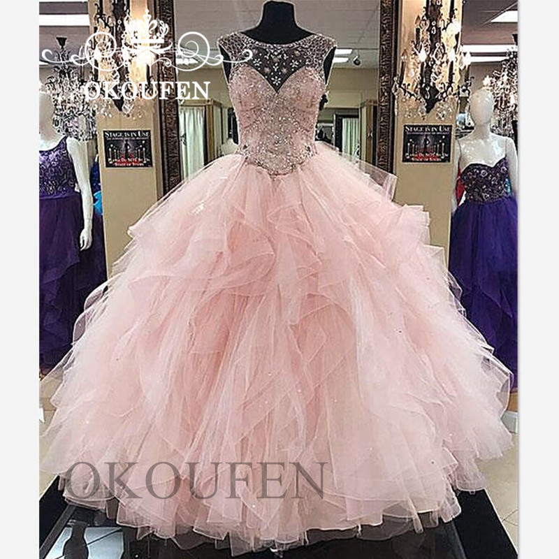 Ball-Gown Quinceanera-Dresses Vestidos-De-15-Anos Tiered Prom-Dress Tulle Pink Light