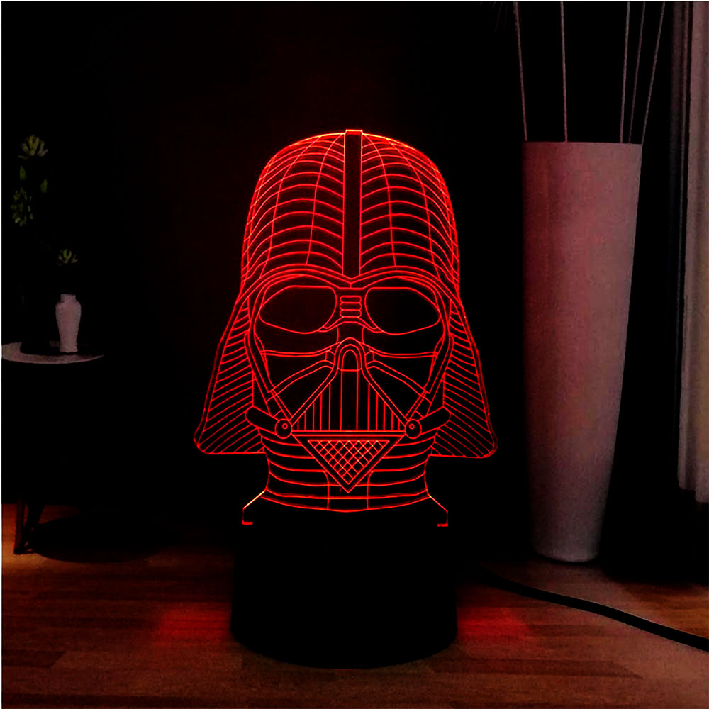 3D Acrylic Panel LED 7 Color Change Star War Style Cool Darth Vade Novel Beside Touch Table Mood Light Kids Gift Drop Shipping image