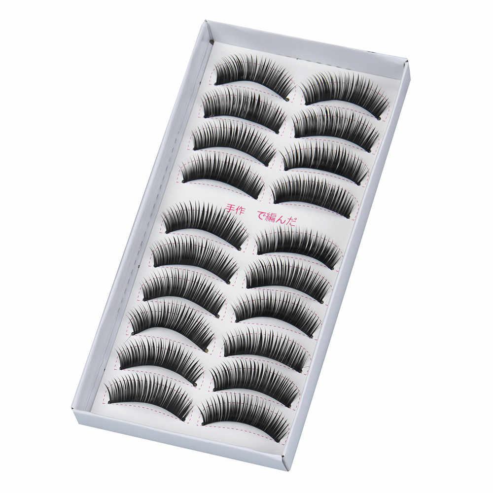 MAG 10 pares de pestañas falsas maquillaje Natural falso grueso negro pestañas наращивание ресниц L525