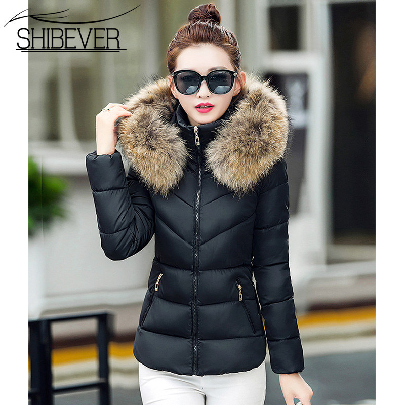 SHIBEVER Women Winter Short Jacket Basic Warm Slim Casual Fur Parka Cotton Outwear Hooded Jackets Female New Fashion Coat BHJ633 shibever new cotton women winter coat ladies casual jacket women warm thick winter parka female outwear clothing for girl cjt142
