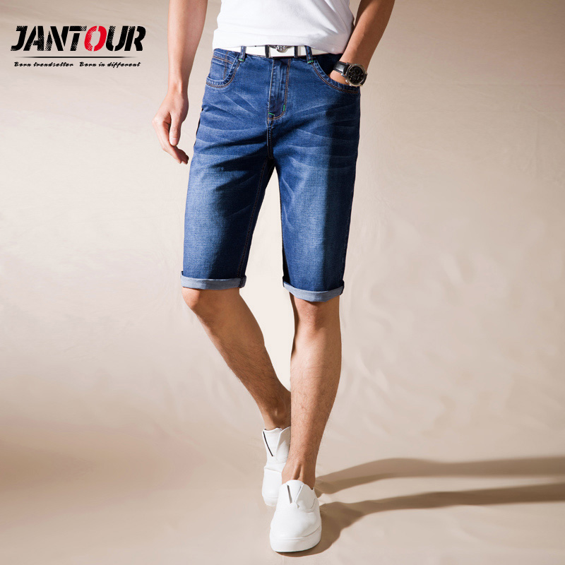 jantour Brand Mens Summer Stretch Thin high quality Denim Jeans male Short Men blue black Jeans Shorts Pants Plus Size 38 40 42 sulee brand 2017 new men skinny jeans stretch fashion classic blue and black slim brand jeans male trousers plus size 38 40 42
