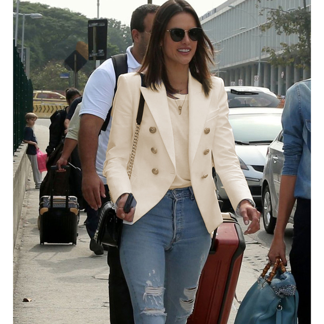 HIGH QUALITY New Fashion 2018 Star Style Designer Blazer Women's Gold Buttons Double Breasted Blazer size S-XXL 1